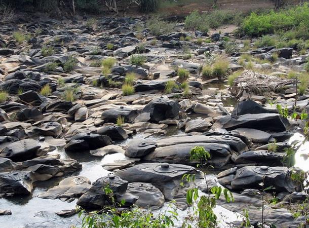 Una intensa sequía revela en un río un impresionante allazgo de miles de Shiva Lingas