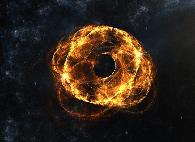 La materia se precipita hacia un agujero negro al 30% de la velocidad de la luz.