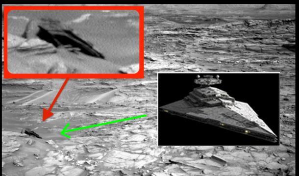 Encuentran un OVNI en una imagen de la Curiosity Rove en Marte que se asemeja a la nave de Star Wars