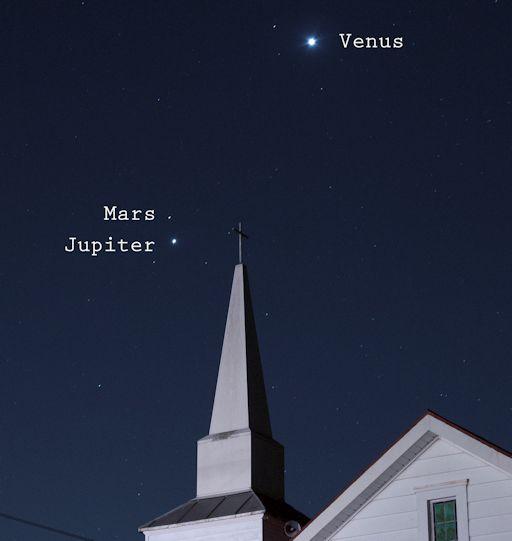 Venus,marte y jupiter visibles en el cielo