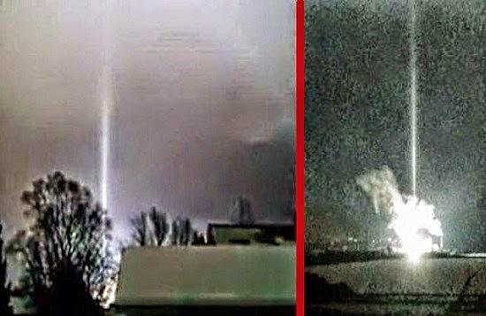 Haz de luz  en una explosión en la central eléctrica,pero fue antes o después