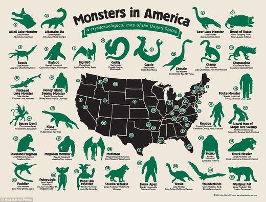 Mapa de monstruos en EEUU