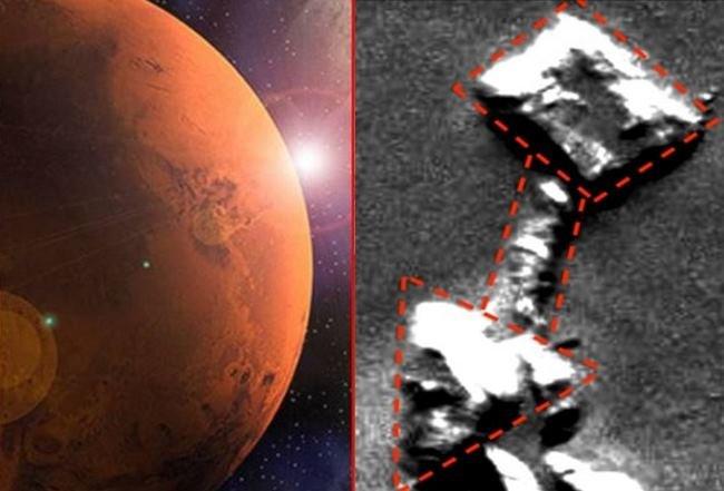 Marte, base con tunel en la región de olympus mon