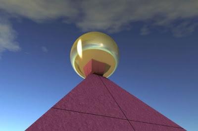 La gran pirámide estaba coronada por una esfera