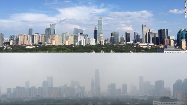 Así se vio el cielo en Pekín tras dos semanas sin circular 2 millones de vehículos