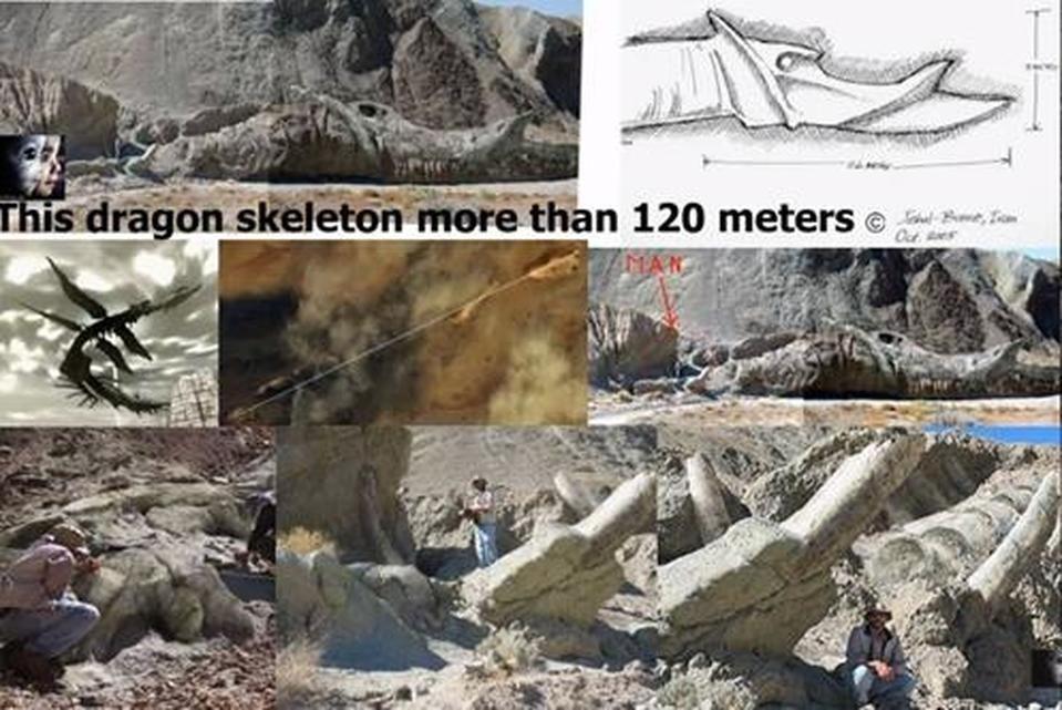 Esqueleto de 120 metros de un dragón descubierto en el desierto iraní