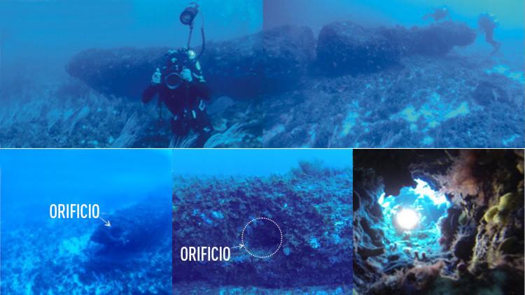 Hallan en el Mediterráneo un colosal monolito perforado hace miles de años