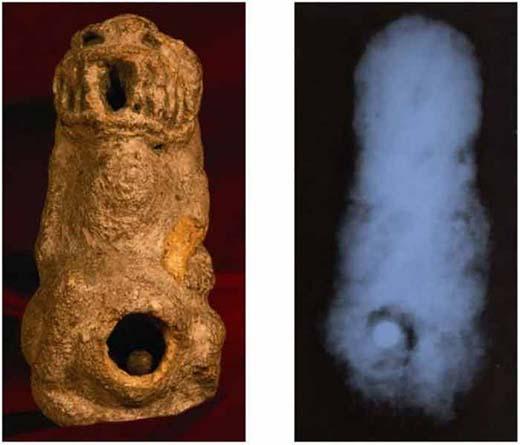Descubren figuras humano-reptil de hace 17,000 años con esferas de cromo perfectas en su interior