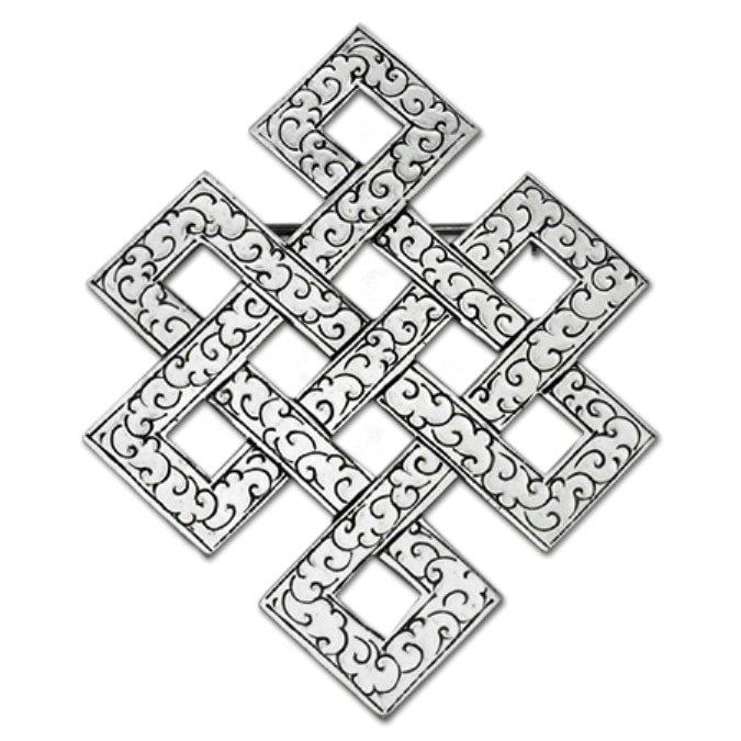 El nudo místico, sin fin, eterno, infinito símbolo del feng shui, uso y significado