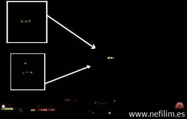 OVNIs limunosos captados cerca de la base Aérea de Nellis Nevada