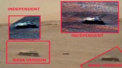Marte:Objeto con forma de tapacubos metálico