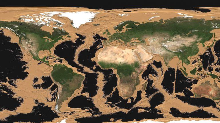 ¿Cómo se vería la Tierra sin agua? Animación muestra el mundo completamente seco.