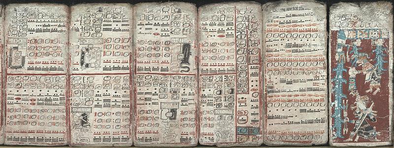 Seis páginas del Códice maya de Dresde en las que aparecen eclipses y una inundación