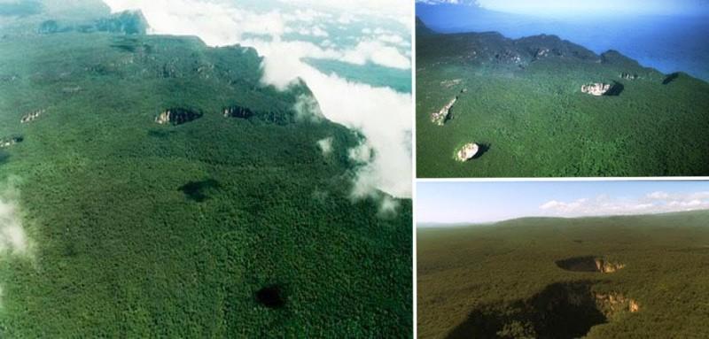 El enigmático parque de Sarisariñama, localizado en entre Guyana y Venezuela. Aquí algunos fotogramas de sus abismales accesos, los Tepuy, donde Charrux hiciera mención, sobre un extraño mundo subterráneo
