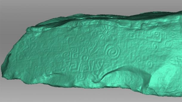 Se muestra un escaneo 3D del monolito peruano en contraste verde claro. El contraste permite ver detalles que eran más difíciles de distinguir en el color verdadero del monolito. (Daniel Fernández-Dávila / Exact Metrology)