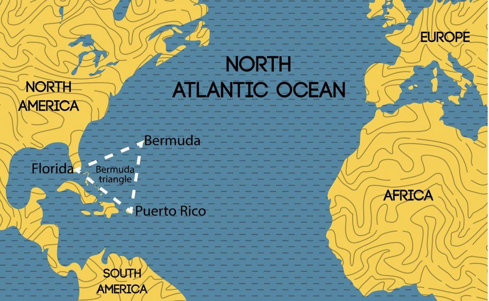Un mapa que muestra la ubicación del Triángulo de las Bermudas. Shutterstock