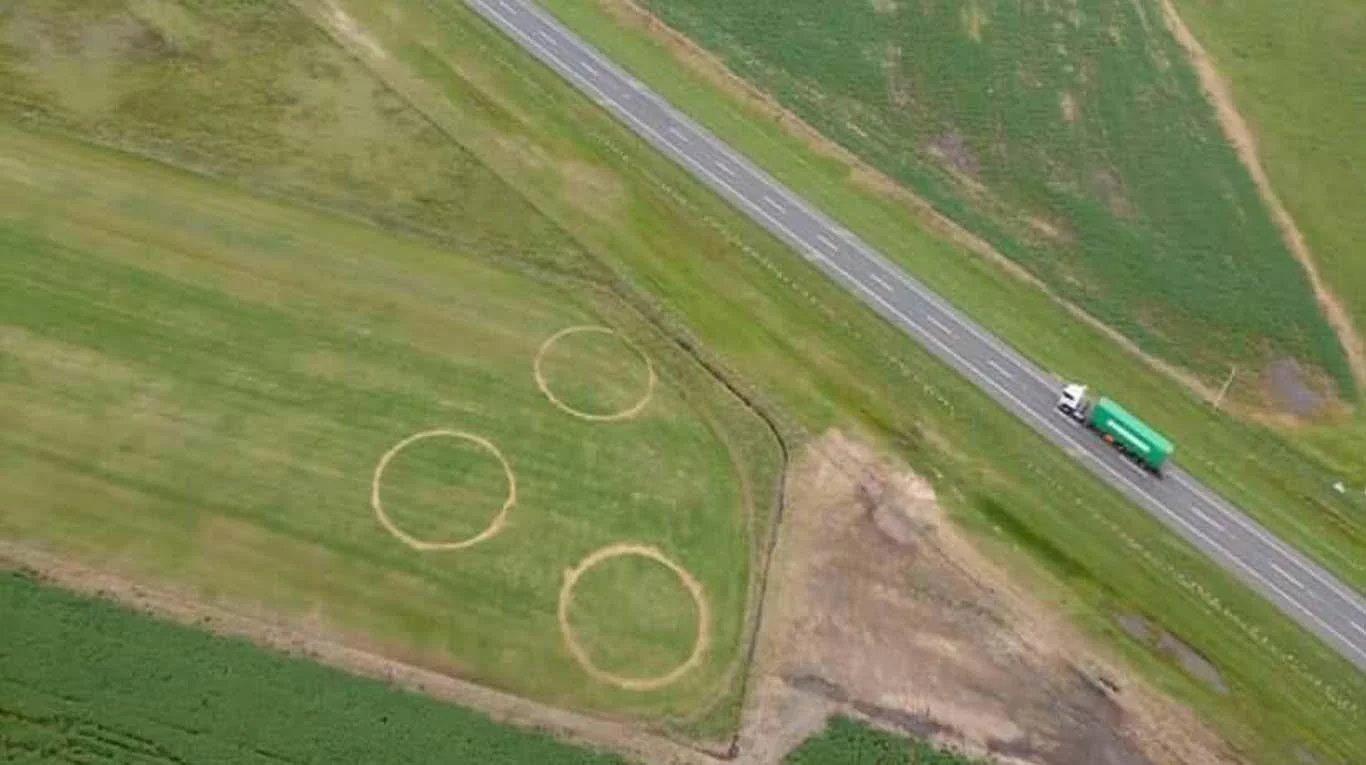 Investigan la presencia de ovnis por tres extrañas marcas en campos de Carmen de Areco, Argentina