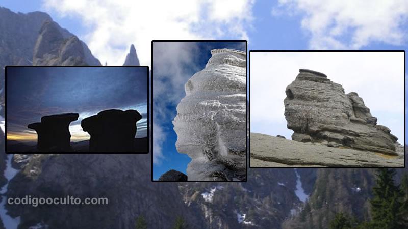 Babele a la izquierda y la Esfinge de Bucegi se encuentra precisamente sobre la cúpula y el túnel hallados en el interior de la montaña.
