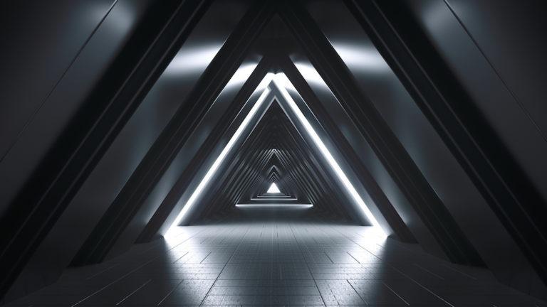 Futurista realista gran corredor de ciencia ficción con luces blancas y reflejos. Renderizado 3D