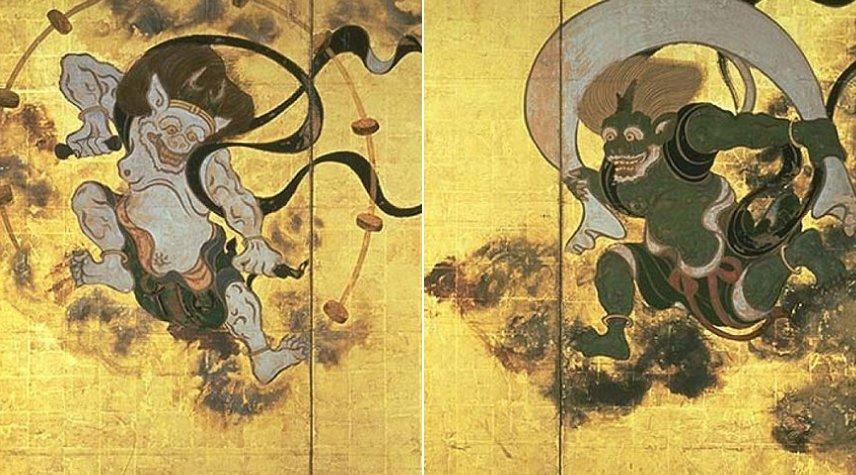 Raijin: dios sintoísta del trueno y el rayo con tres dedos que representan el pasado, el presente y el futuro