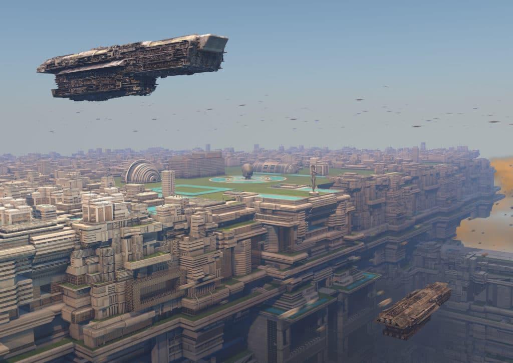 Ciudad celestial futurista