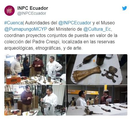 Anuncio realizado por las autoridades del Ecuador, con planes para el restablecimiento, de la desaparecida Colección Crespi. Fecha estimada 2020