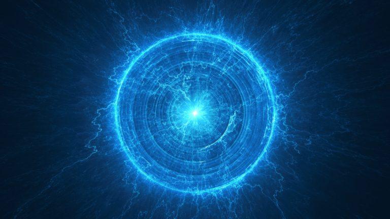 Fondo de ciencia abstracta - Campo electromagnético - Bobina de Tesla - Energía atómica