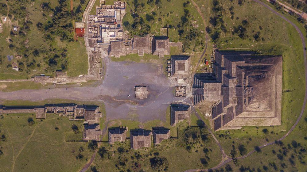 Una vista aérea de una sección de la antigua ciudad de Teotihuacan. Shutterstock