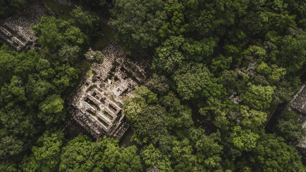 Vista aérea de las pirámides de Calakmul. Shutterstock