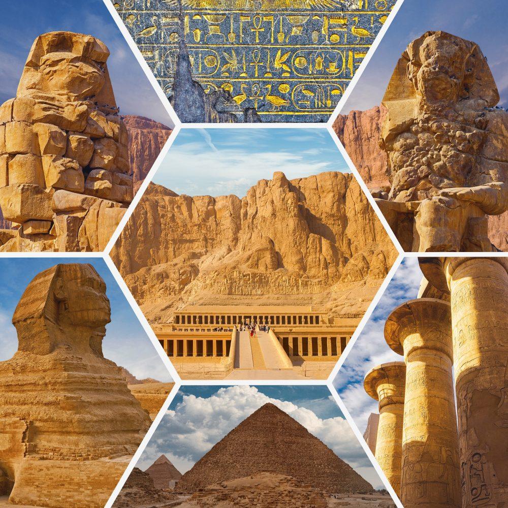 Un collage de varios sitios antiguos de Egipto. Shutterstock