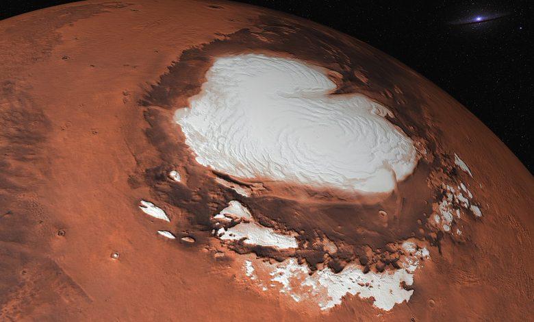 Representación artística de Mars 'Ice Caps. Shutterstock