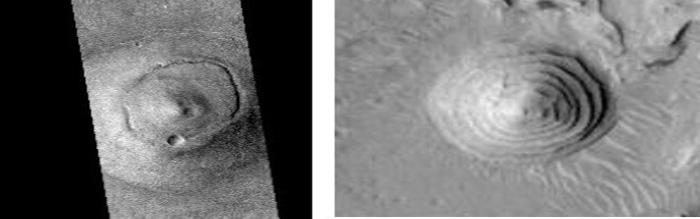 «Tolus», al este de la cara de Cydonia, fotografiada por la SGR y otro «montículo circular» en una imagen de 2001 Mars Odyssey.