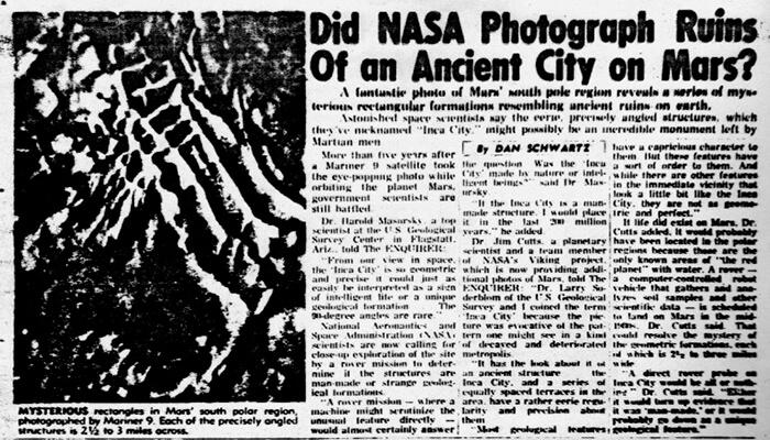 Un informe de la «National Enquirer» del 25 de octubre de 1977 acerca de una «ciudad antigua en Marte», que los científicos llaman «Ciudad Inca»