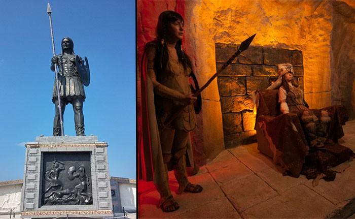 Izquierda: estatua de una Amazona en Samsun, Turquía. Derecha: modelos de Amazonas en un museo de Samsun