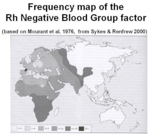 Mapa de los lugares con mayor incidencia del factor Rh negativo