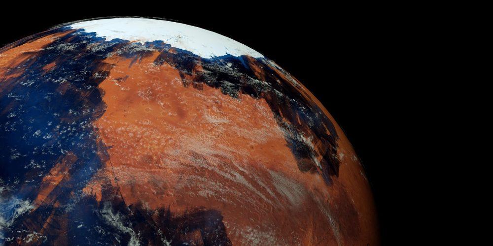 Representación artística de Marte con agua. Shutterstock