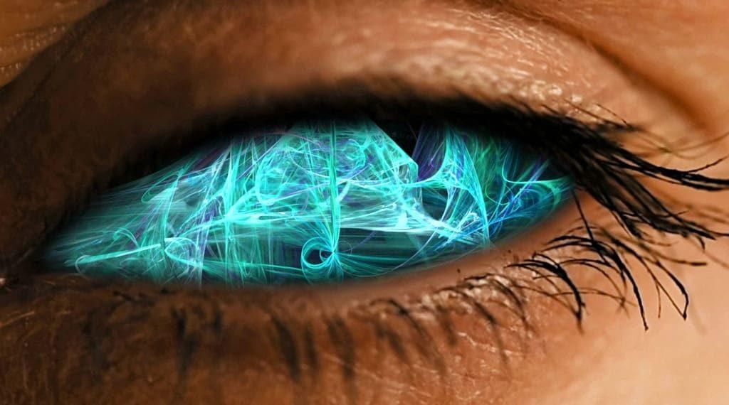Iris de ojo con patrón de polvo neuronal abstracto