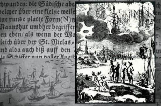 Un grabado de 1680, que acompaña a la descripción de Erasmo Francisco de la batalla entre barcos en el cielo en 1665.