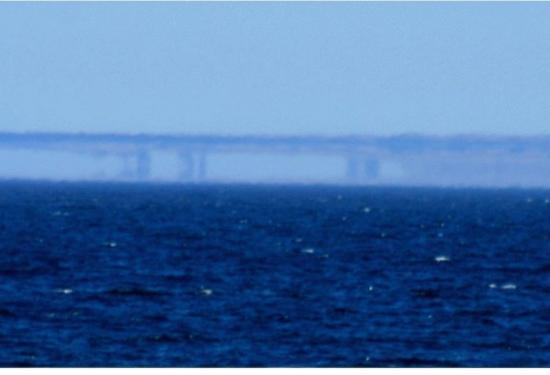 Un Fata Morgana Mirage a lo largo de la costa de Santa Cruz (California, 7 de mayo de 2007).
