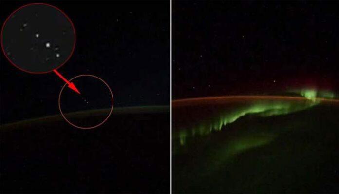 Flota OVNI capturada en video desde la Estación Espacial Internacional