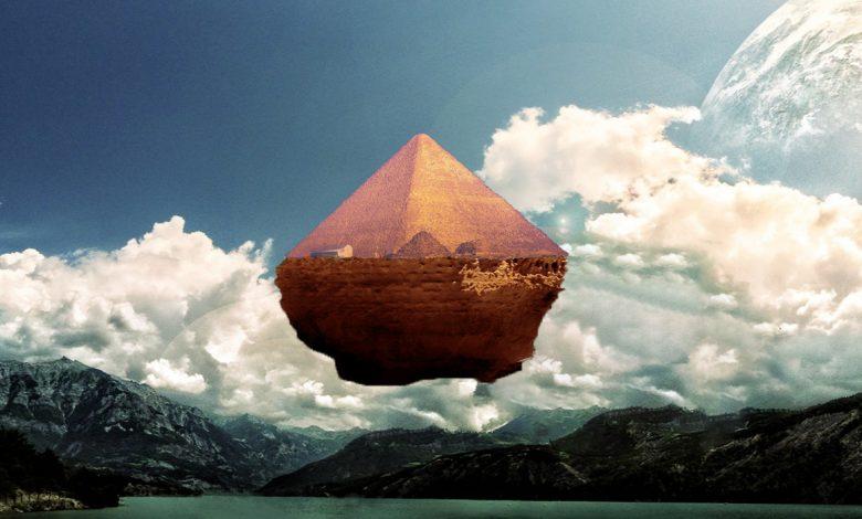 Ilustración de un artista de una pirámide flotante. Curiosmos.