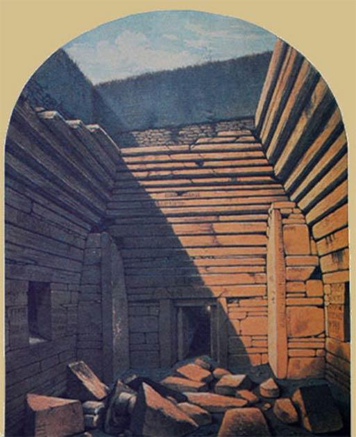 A la izquierda: secciones transversales del mojón con cámara neolítica y la tumba de paso conocida como Maeshowe en las Orcadas. (Fantoman400 / CC BY-SA 3.0). A la derecha: Maeshowe en las Orcadas, poco después de su apertura en 1861. (Fantoman400 / CC BY-SA 3.0)