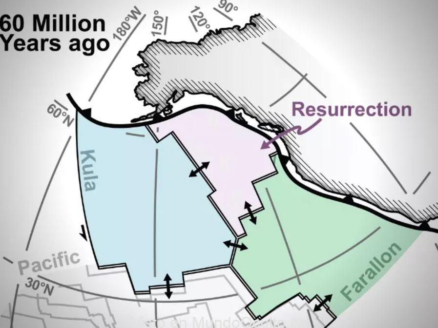Descubren una placa tectónica «perdida» llamada «Resurrection» bajo el Pacífico