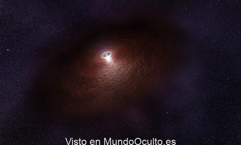 Ilustración de un artista que muestra una estrella de neutrones (RX J0806.4-4123) con un disco de polvo cálido que produce una firma infrarroja. Crédito de la imagen: ESA / Hubble.