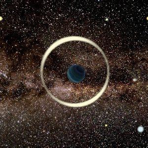 La impresión de un artista de un evento de microlente gravitacional por un planeta que flota libremente. Crédito: Jan Skowron / Observatorio Astronómico, Universidad de Varsovia.
