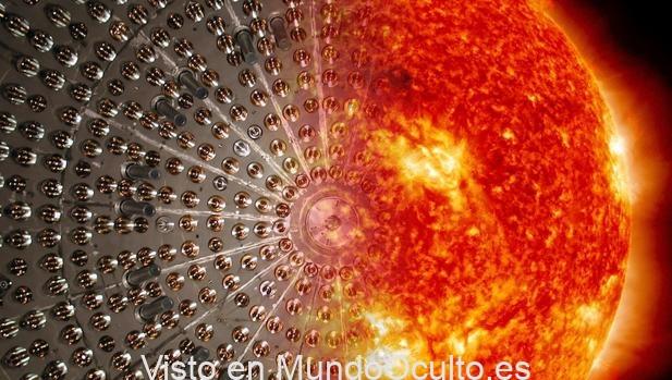 La ilustración muestra los sensores del núcleo de Borexino fusionada con la imagen del Sol