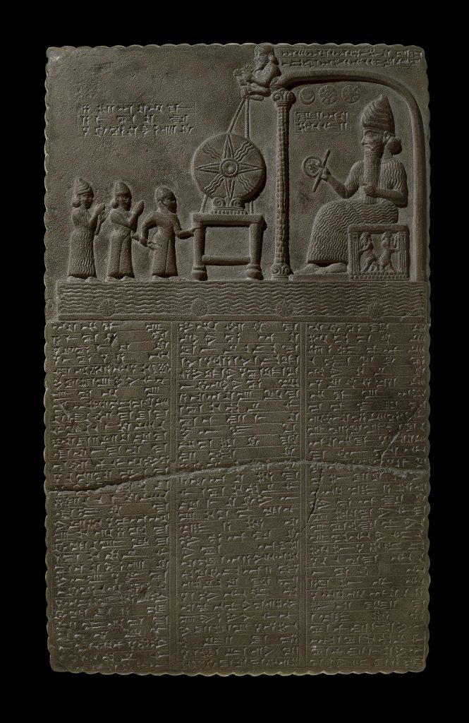 La Tabla de Shamash. Puedes leer la explicación de las imágenes a continuación. Crédito: Museo Británico