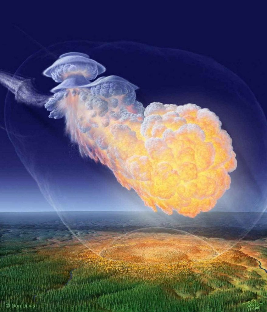 Impresión artística del meteorito Tunguska basada en informes de testigos presenciales. Por supuesto, todo el evento de Tunguska puede haber sido o no un meteorito después de todo. Crédito: Don Davis