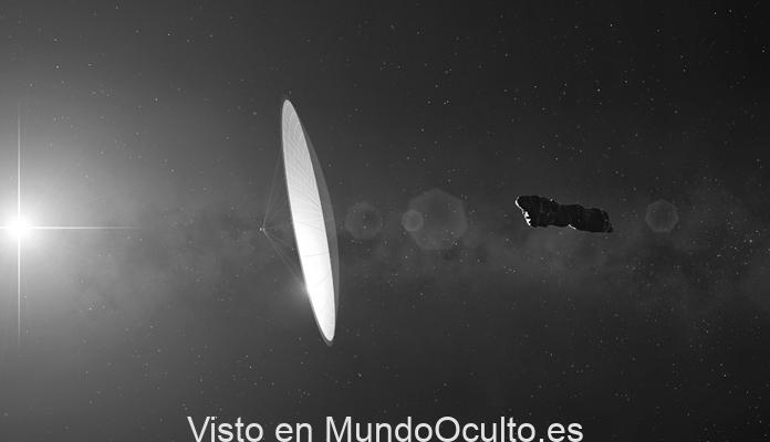"""Representación artística de Oumuamua como una vela solar. Imagen: Mark Garkick para """"Tähdet ja avaruss""""/Science Photo Library. Del libro """"Extraterrestre"""" (Planeta), de Avi Loeb."""