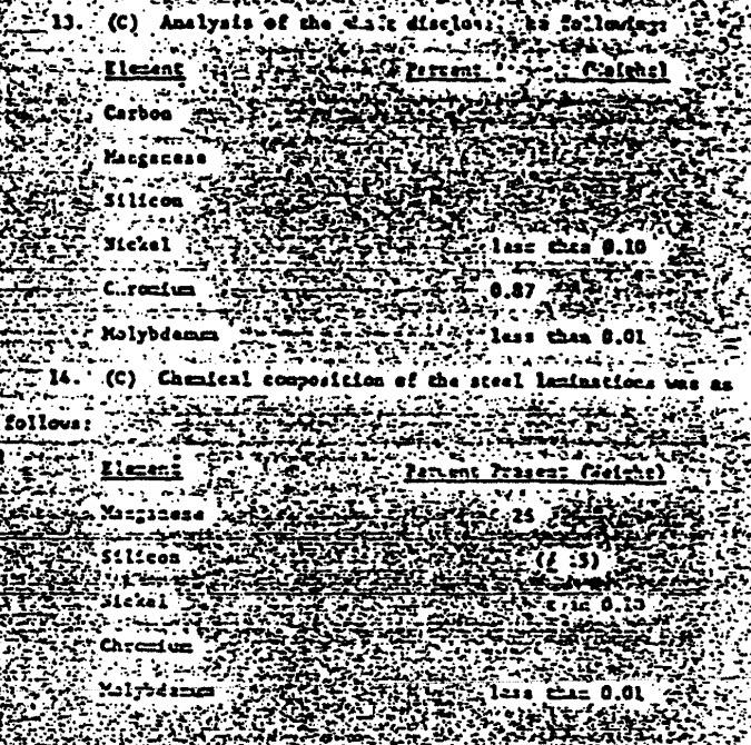 Esta página del documento del fragmento OVNI desclasificado muestra un desglose de la composición química. Es imposible leer la mayoría de los datos, pero los elementos son claramente visibles. Crédito: The Black Vault